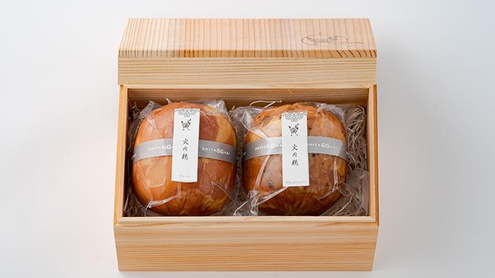 比内地鶏ブロックハム250g2本セット(杉箱入り)