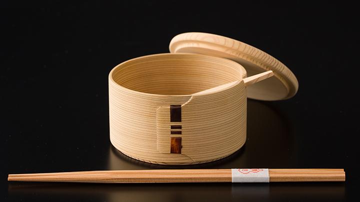 白木バターケース(丸)&六角杉箸
